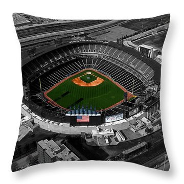 Us Cellular Field Chicago Sports 08 Selective Coloring Digital Art Throw Pillow by Thomas Woolworth