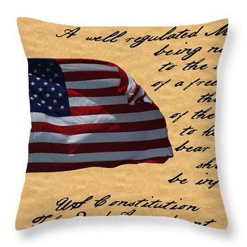Us Constitution 2nd Amendment Flag Throw Pillow by Robyn Stacey