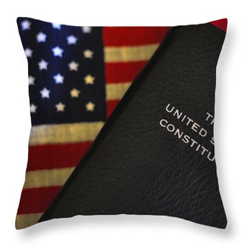 United States Constitution And Flag Throw Pillow