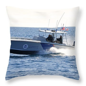 Us Customs At Work Throw Pillow by Shoal Hollingsworth