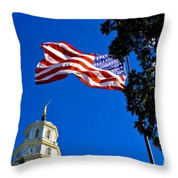 Flag And Moroni Throw Pillow