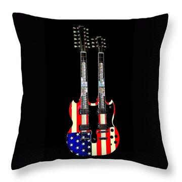 U S Flag Gibson Guitar Poster Throw Pillow by Jean Goodwin Brooks