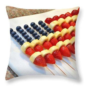 American Flag Fruit Kabobs Throw Pillow