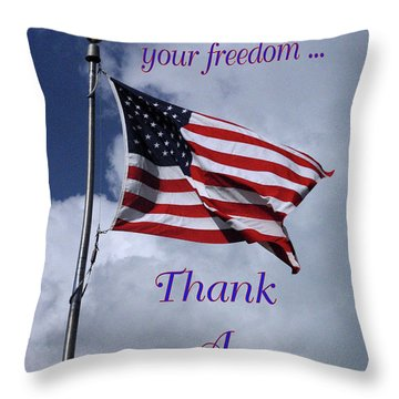Us Flag Thank A Vet Throw Pillow by Robyn Stacey