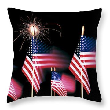 Us Flags And Fireworks Throw Pillow