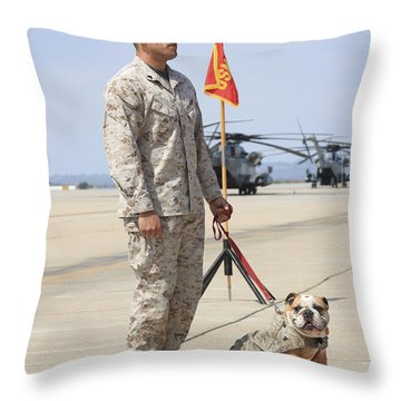 Throw Pillow featuring the photograph U.s. Marine And The Official Mascot by Stocktrek Images