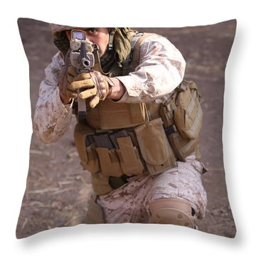 Us Marine At Work Throw Pillow by Shoal Hollingsworth