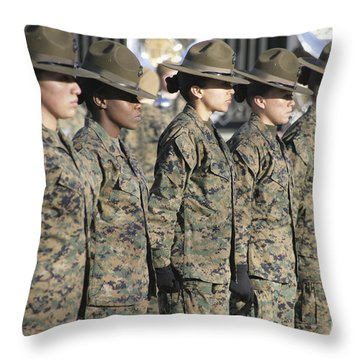 Throw Pillow featuring the photograph U.s. Marine Corps Female Drill by Stocktrek Images