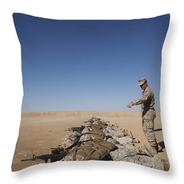 U.s. Marine Corps Officer Directs Throw Pillow by Stocktrek Images