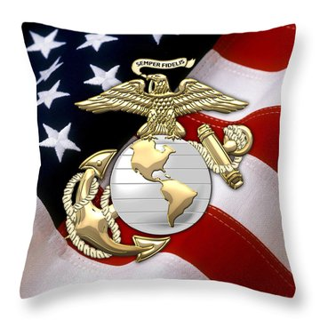 U. S. Marine Corps - U S M C Eagle Globe And Anchor Over American Flag. Throw Pillow