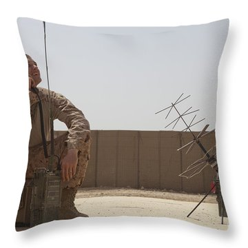 U.s. Marine Looks Up To The Sky While Throw Pillow by Stocktrek Images