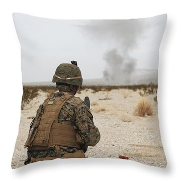 U.s. Marine Provides Security As Part Throw Pillow by Stocktrek Images