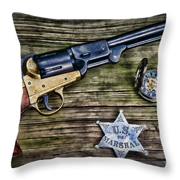 Us Marshall - American Justice - Cowboy Throw Pillow by Paul Ward