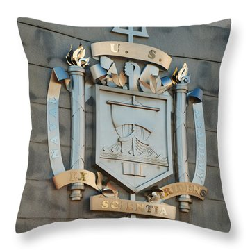 Us Naval Academy Insignia Throw Pillow by Mark Dodd