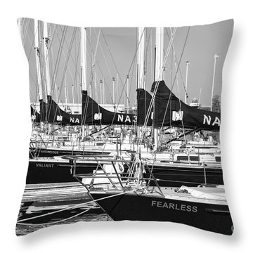 Us Navy 44 Sail Training Craft II Throw Pillow by Clarence Holmes