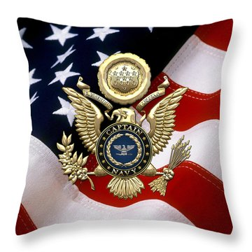 U. S.  Navy Captain - C A P T  Rank Insignia Over Gold Great Seal Eagle And Flag Throw Pillow