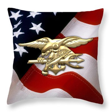 U. S. Navy S E A Ls Emblem Over American Flag Throw Pillow