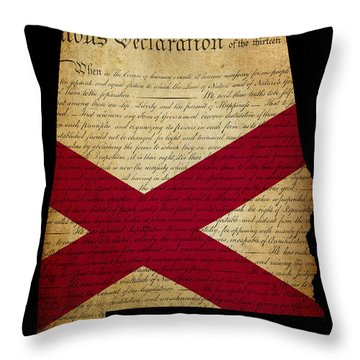 Usa American State Alabama Map Outline With Grunge Effect Flag A Throw Pillow by Matthew Gibson