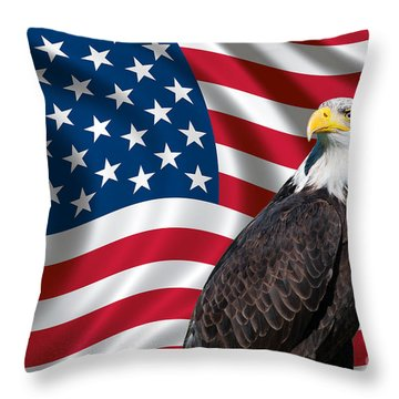 Usa Flag And Bald Eagle Throw Pillow by Carsten Reisinger