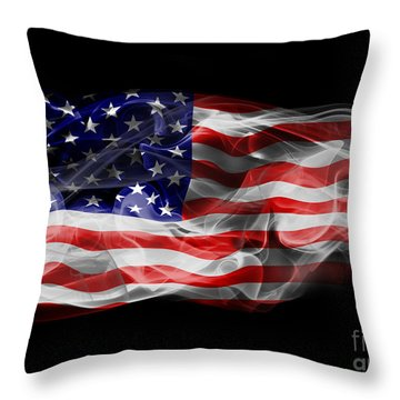 Usa Flag Smoke  Throw Pillow by Jt PhotoDesign