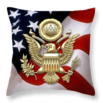 U. S. A. Great Seal In Gold Over American Flag  Throw Pillow