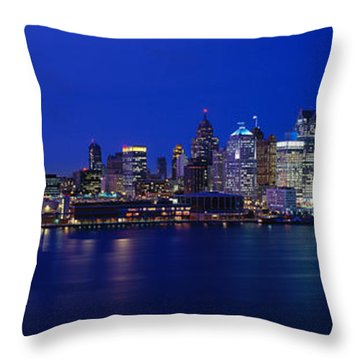 Usa, Michigan, Detroit, Night Throw Pillow