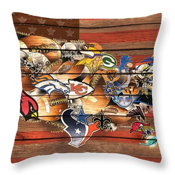 Usa Nfl Map Collage 10 Throw Pillow