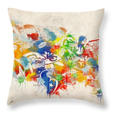 Usa Nfl Map Collage 12 Throw Pillow by Bekim Art
