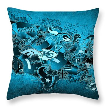 Usa Nfl Map Collage 13 Throw Pillow