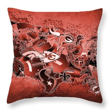 Usa Nfl Map Collage 14 Throw Pillow