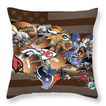 Usa Nfl Map Collage 2 Throw Pillow