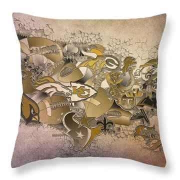 Usa Nfl Map Collage 8 Throw Pillow