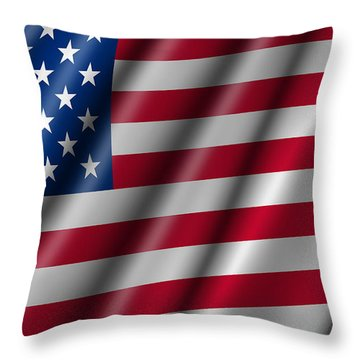 Usa Stars And Stripes Flying American Flag Throw Pillow