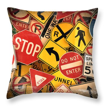 Usa Traffic Signs Throw Pillow by Carsten Reisinger