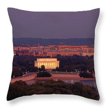 Usa, Washington Dc, Aerial, Night Throw Pillow