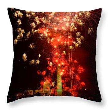 Usa, Washington Dc, Fireworks Throw Pillow