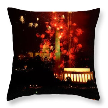 Usa, Washington Dc, Fireworks Throw Pillow