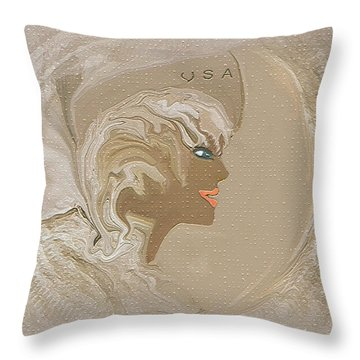 Throw Pillow featuring the painting  Women Serving Our Country by Sherri  Of Palm Springs