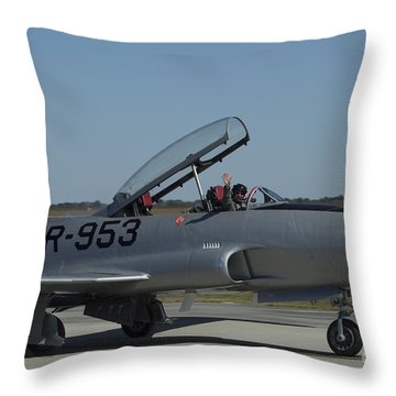 Usaf Lockheed T-33 'tr-953' Taxi Throw Pillow by D Wallace