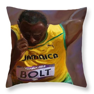 Throw Pillow featuring the painting Usain Bolt 2012 Olympics by Vannetta Ferguson