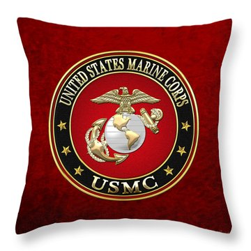 U S M C Eagle Globe And Anchor - E G A On Red Velvet Throw Pillow