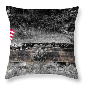 Throw Pillow featuring the photograph Usmc Veteran Headstone by Sherman Perry