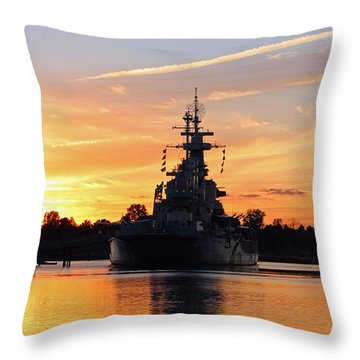 Uss Battleship Throw Pillow by Cynthia Guinn