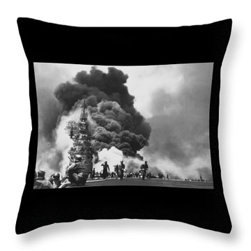 Uss Bunker Hill Kamikaze Attack  Throw Pillow by War Is Hell Store