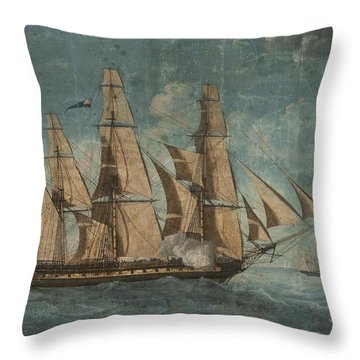 Throw Pillow featuring the painting Uss Constitution 1803 by Celestial Images