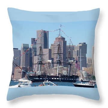 Uss Constitution Throw Pillow by Catherine Gagne