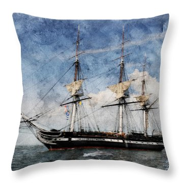 Uss Constitution On Canvas - Featured In 'manufactured Objects' Group Throw Pillow