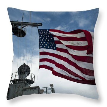 Uss Cowpens Flies A Large American Flag Throw Pillow by Stocktrek Images