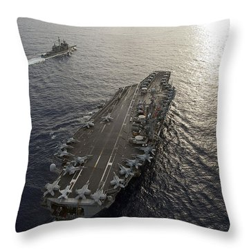 Throw Pillow featuring the photograph Uss George Washington And Uss Mobile by Stocktrek Images