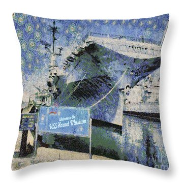 Throw Pillow featuring the painting Alameda Uss Hornet Aircraft Carrier by Linda Weinstock